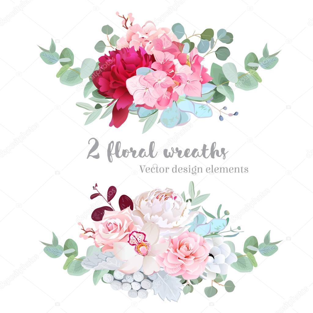 Floral mix wreath vector design set