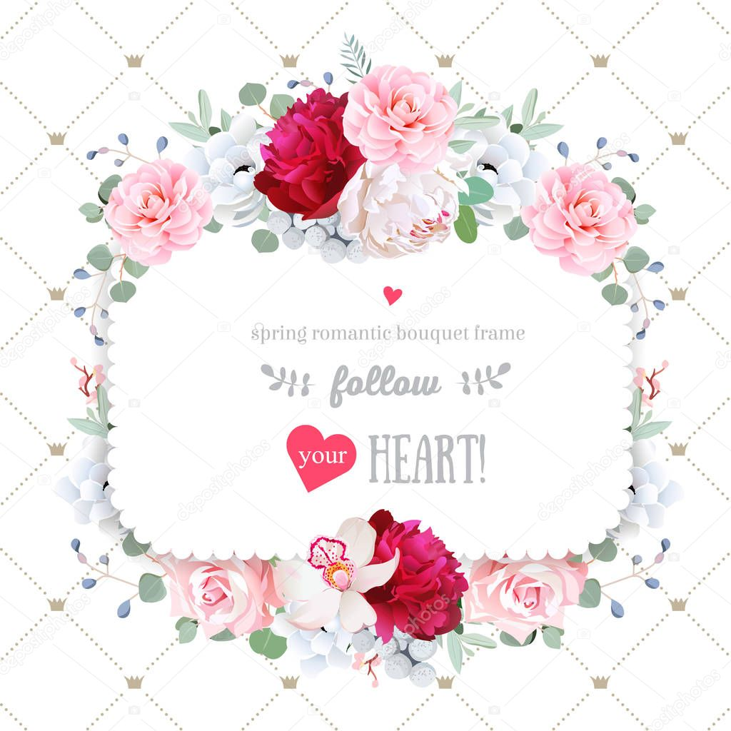 Square floral vector frame with beautiful flowers and crown patt