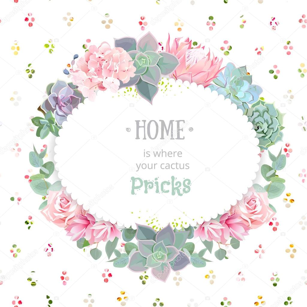 Oval succulents vector design frame