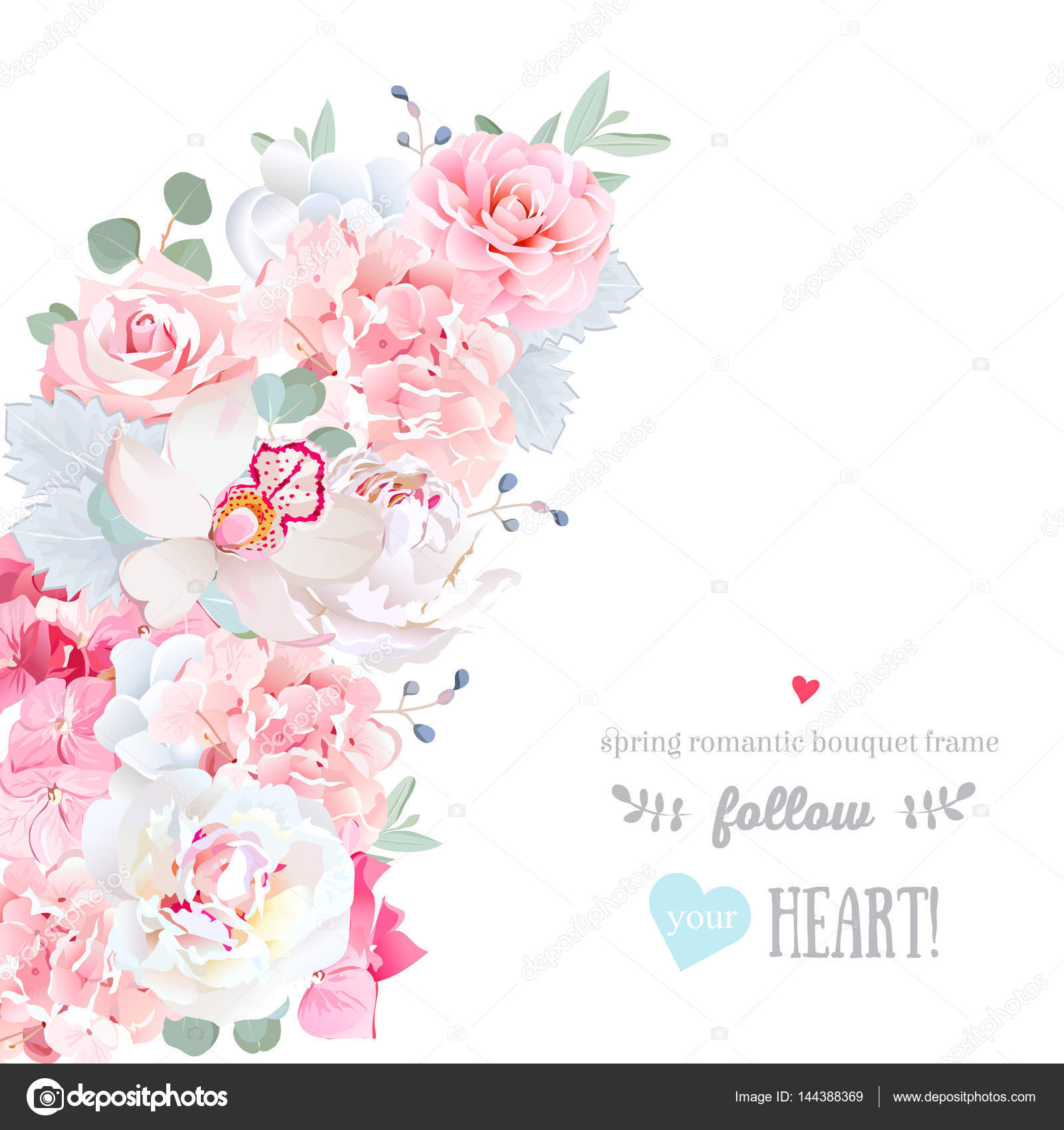 Cute floral crescent shape vector frame with white wedding flowers ...