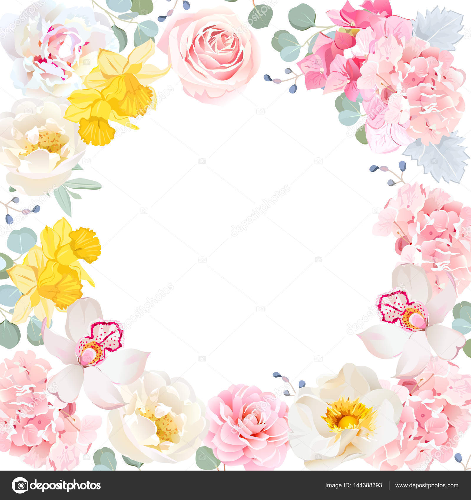 Vector floral redondo marco. Tarjeta de la invitación del centro ...