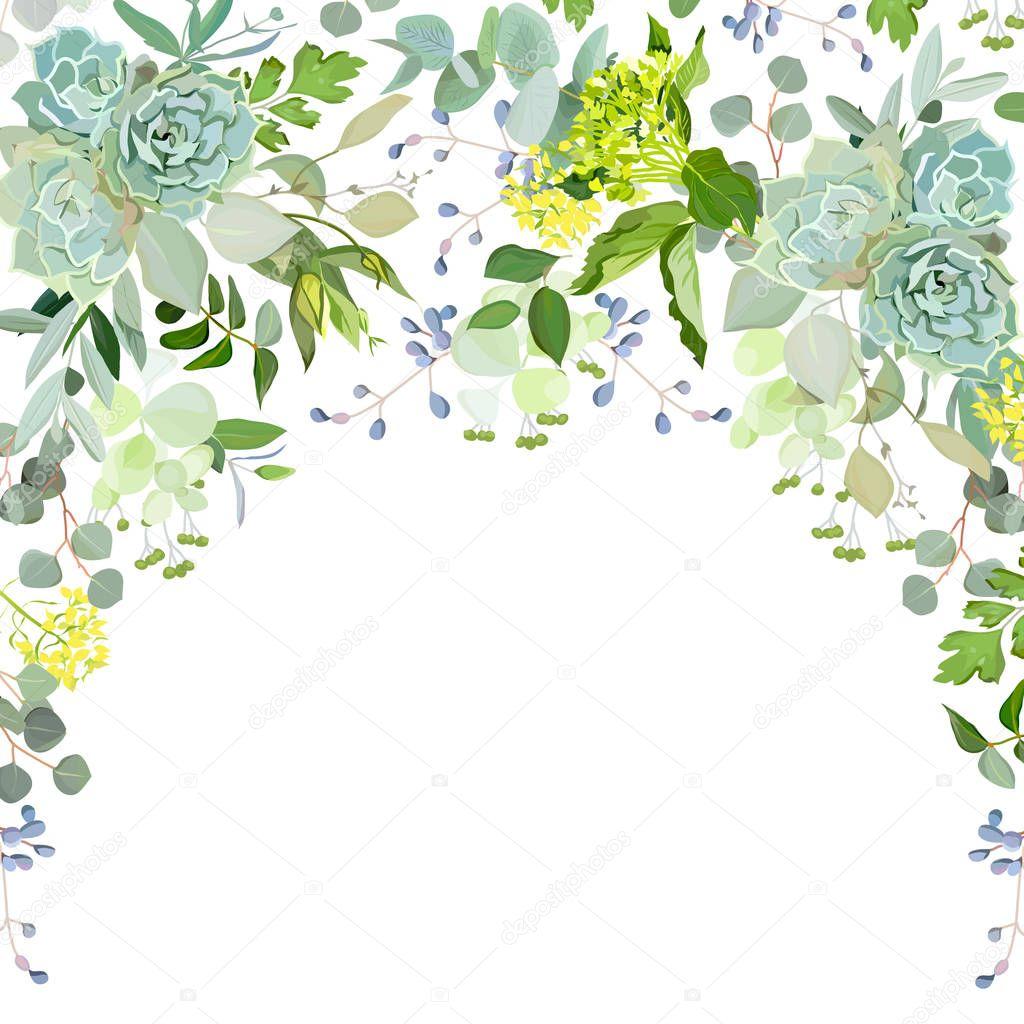 Semicircle garland herbal frame on white background