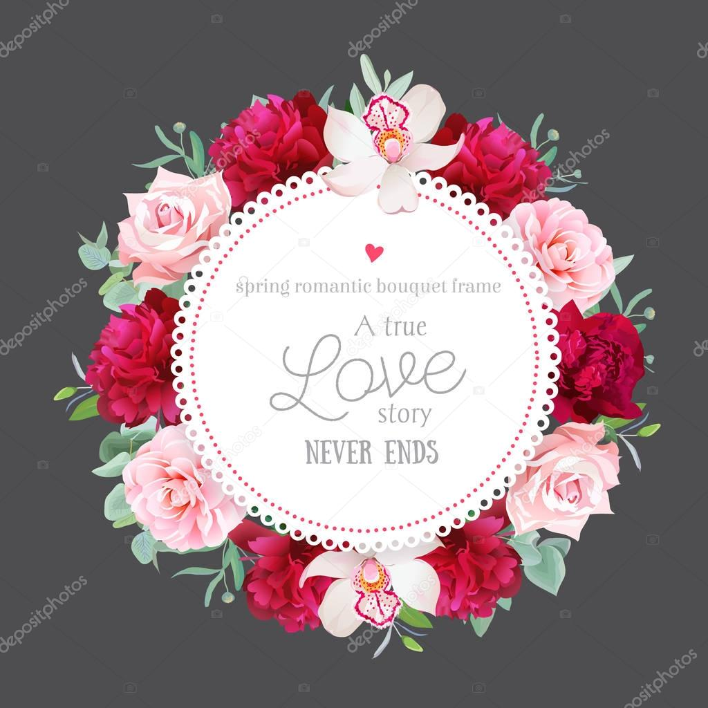 Elegant burgundy red peonies, orchid, rose, camellia, eucalyptus