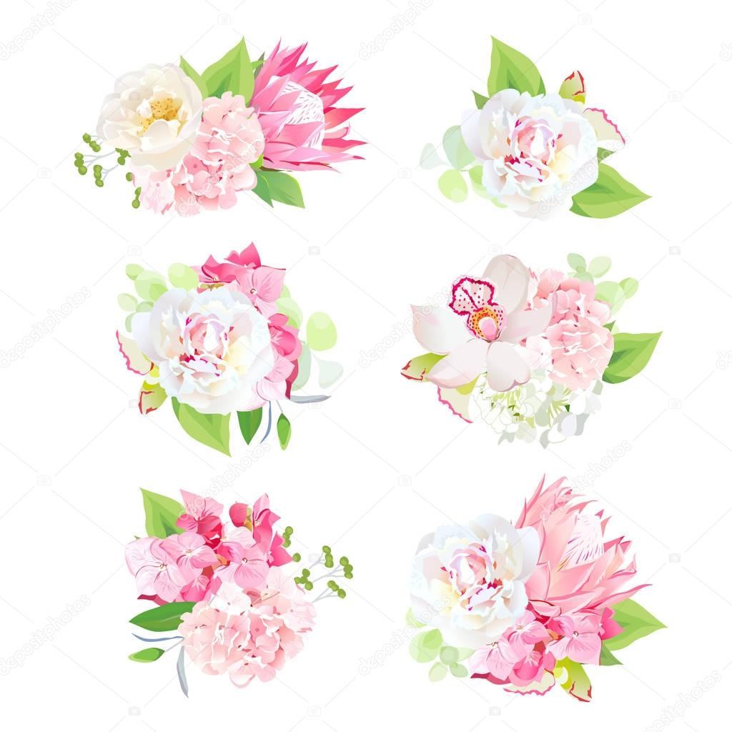 Mini spring mixed bouquets vector design set