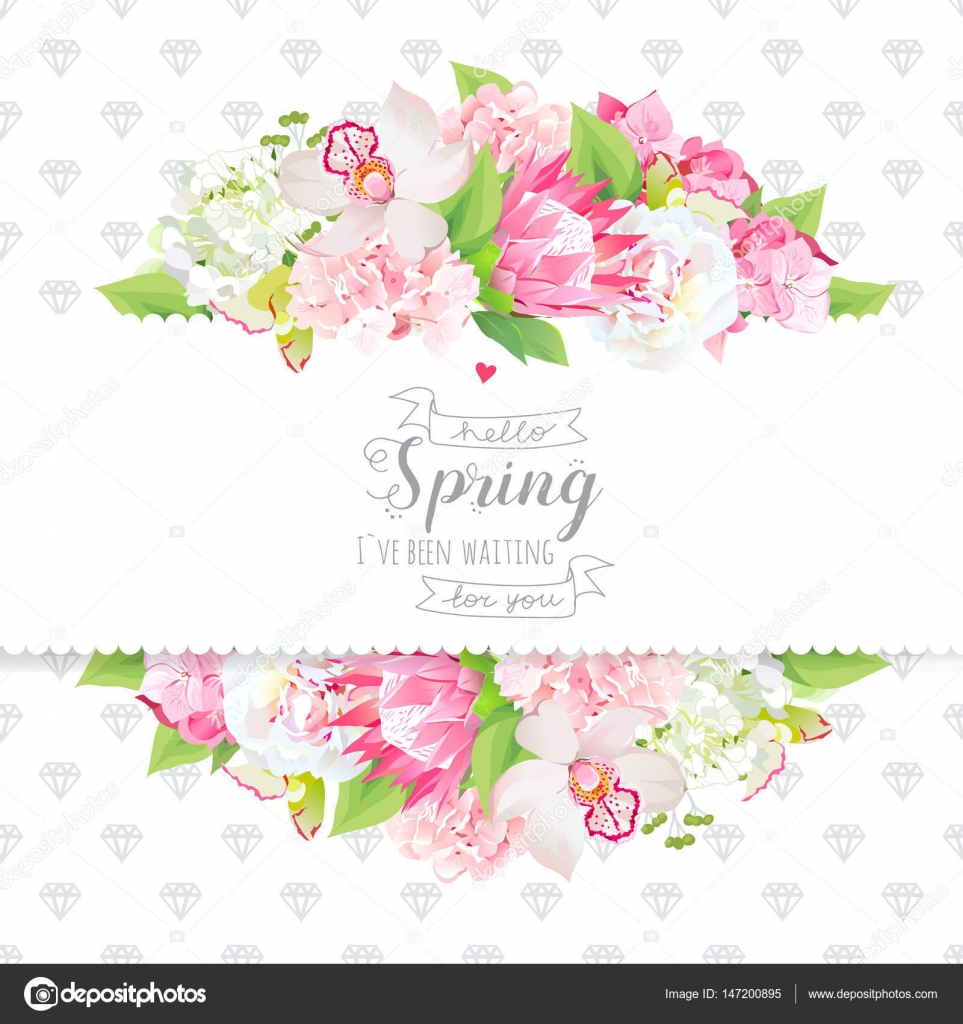 Spring Flowers And Leaves Horizontal Vector Design Card Stock