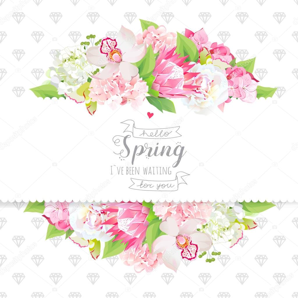 Spring flowers and leaves horizontal vector design card
