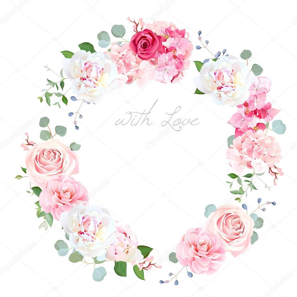 Delicate wedding floral vector design round frame