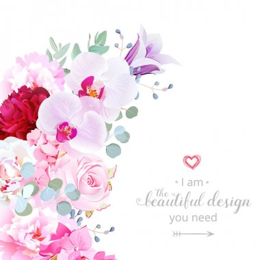 Luxury floral crescent shape vector frame with flowers