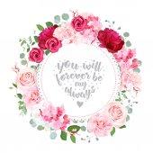 Romantikus esküvői virág vector design kör kártya