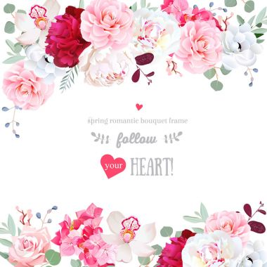 """Картина, постер, плакат, фотообои """"романтическая цветочная рамка из цветов и листьев """", артикул 149790616"""