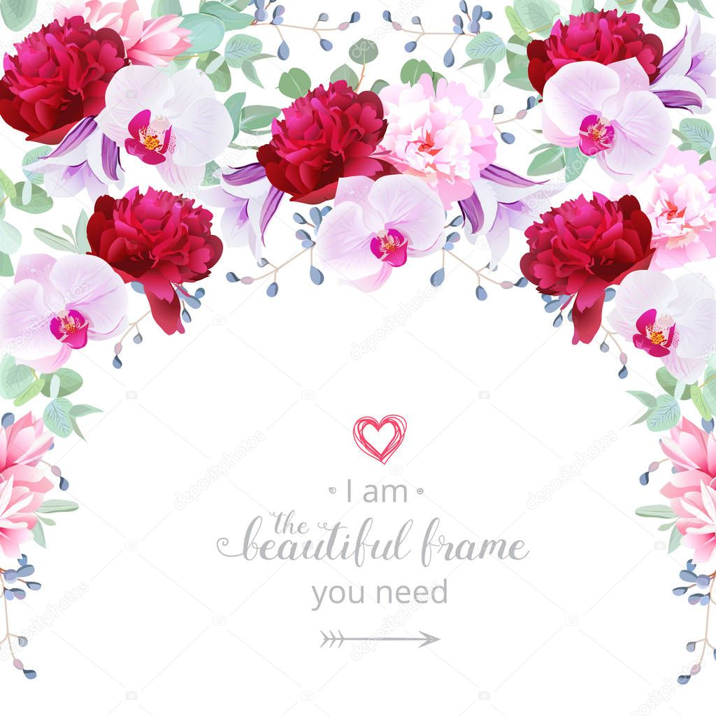 Semicircle garland frame with rose, peony, campanula and orchid