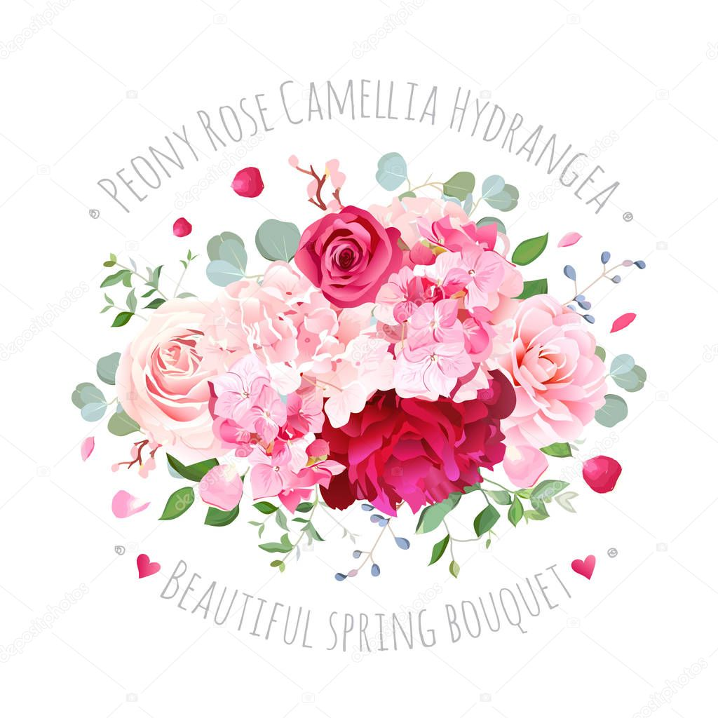 Bouquet of rose, peony, camellia, hydrangea, flying petals and e
