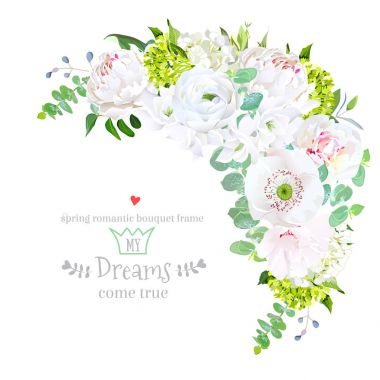 Stylish floral crescent shaped vector design frame