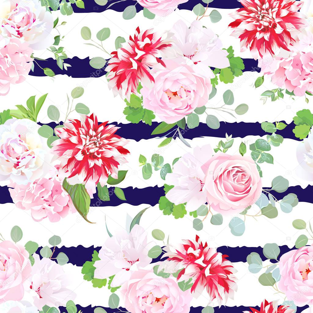 Navy striped print with bouquets of pink rose, white peony