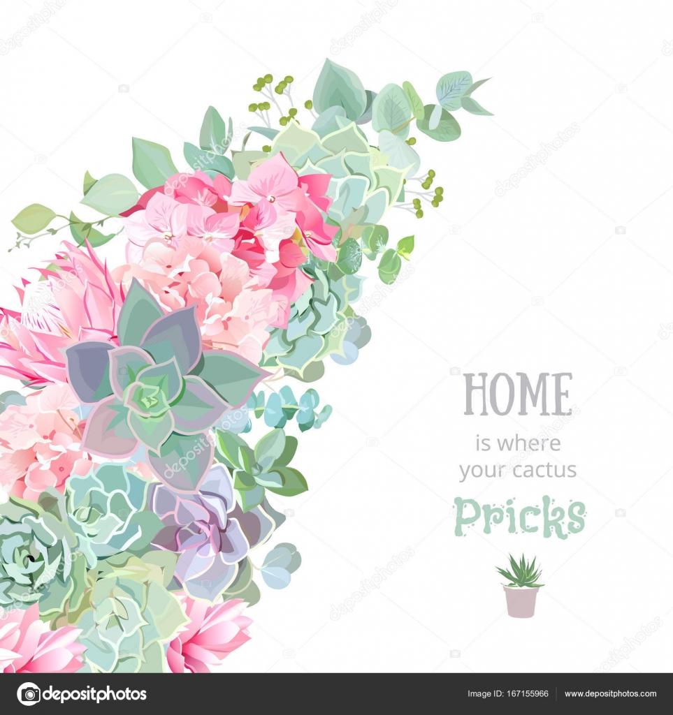 Wild Desert Floral Vector Banner Stripe With Succulents Echeveria Hydrangea Pink Protea Eucalyptus Rustic Craft Bouquet