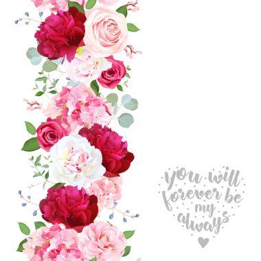"""Картина, постер, плакат, фотообои """"вертикальная гирлянда из линеек с камбалой, розой, пионом, гидрой цветы пионы черно города"""", артикул 168074022"""