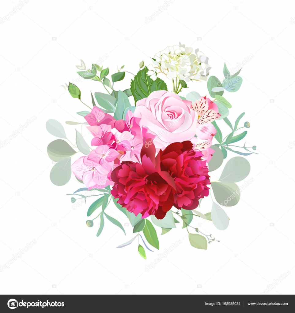 Bouquet of rose, burgundy red peony, pink and white hydrangea ...