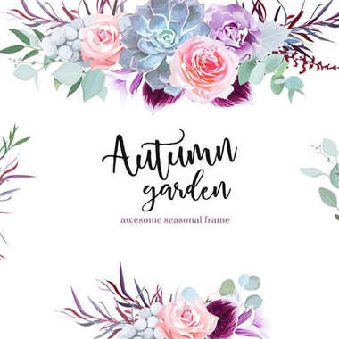 Stylish plum colored and pink flowers vector design card