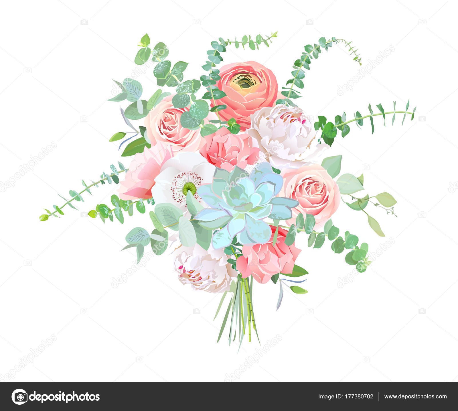 865c52bb01cf0 Watercolor style flowers bouquet. Ranunculus, peony, rose, white poppy, pink  carnation, succulent, baby blue eucalyptus. Vector greenery illustration  for ...