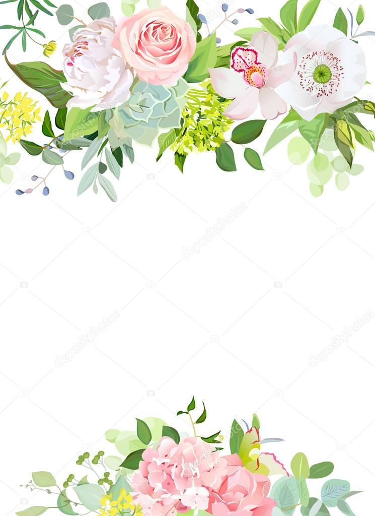 Green mix of hydrangea, succulents, echeveria, eucalyptus and fl