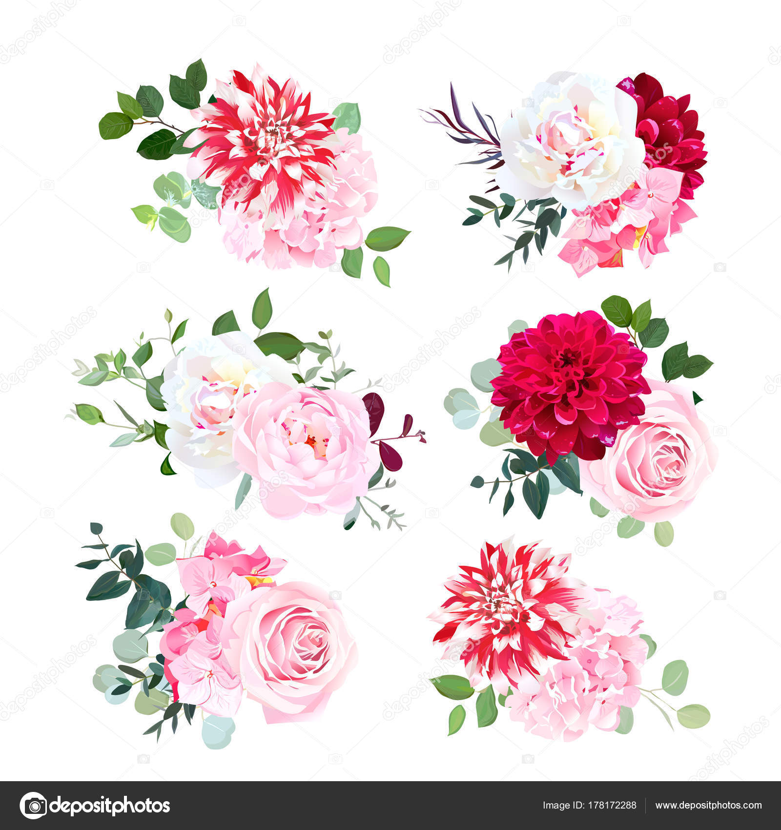 Small summer bouquets vector design set — Stock Vector ...