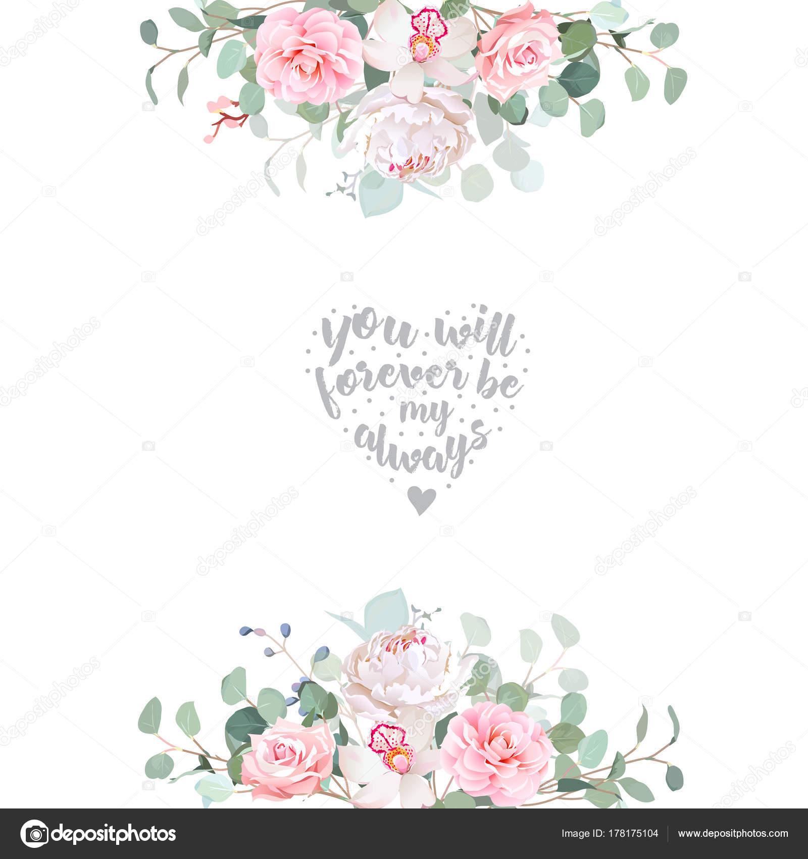 Linda boda floral vector diseño de marco — Archivo Imágenes ...
