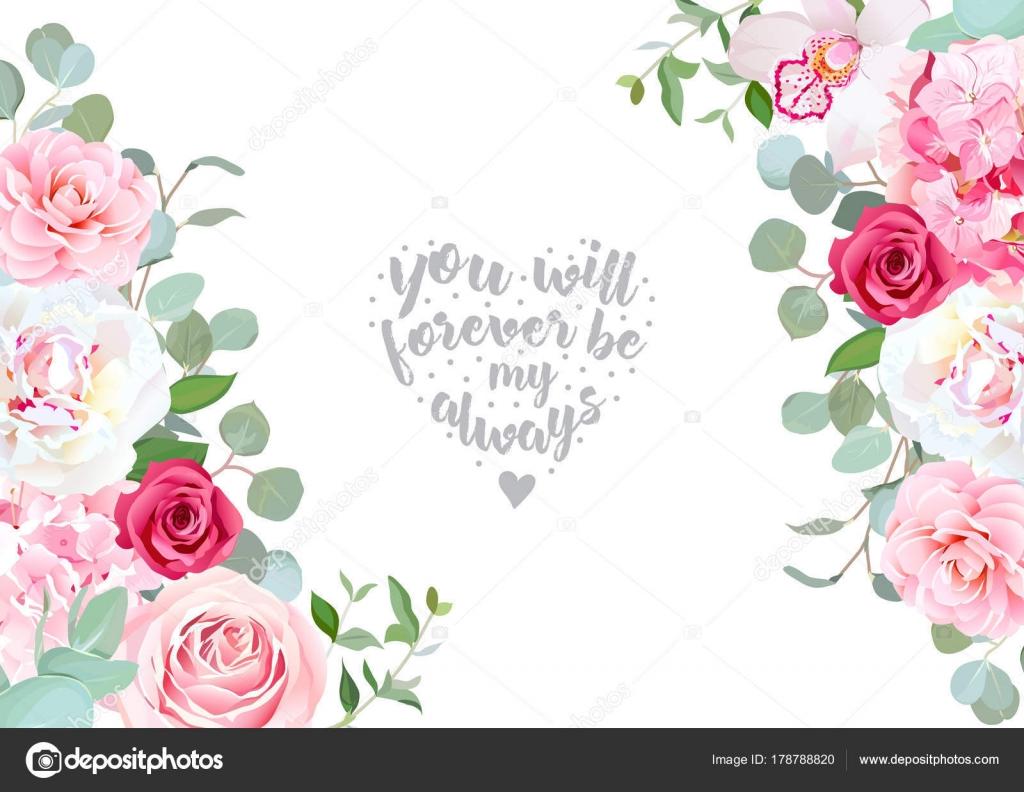 Partes de boda floral vector diseño de marco — Archivo Imágenes ...