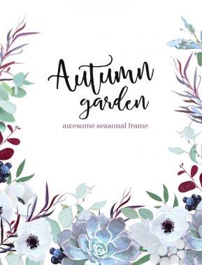 Autumn plants vector design frame arranged from anemone, eucalyp