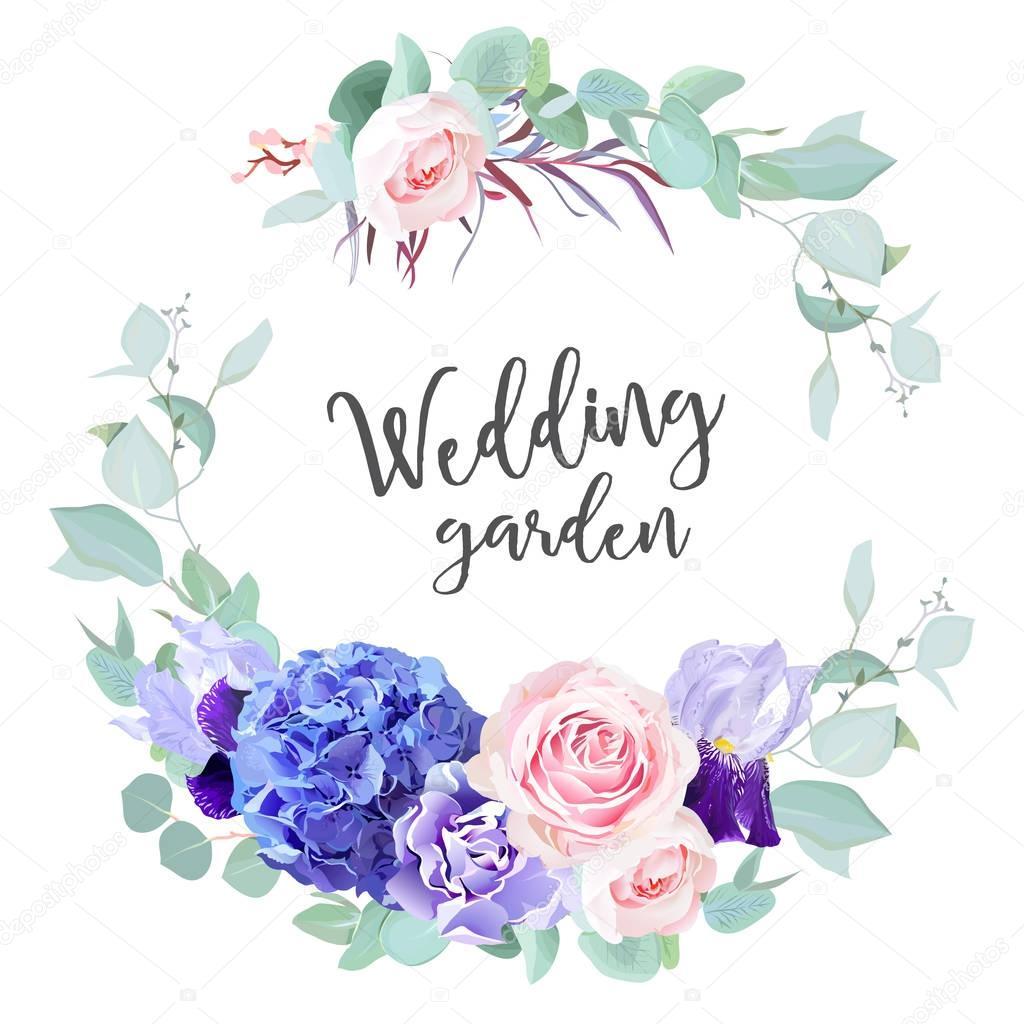 Purple hydrangea, pink rose, violet iris, carnation, blue mint e