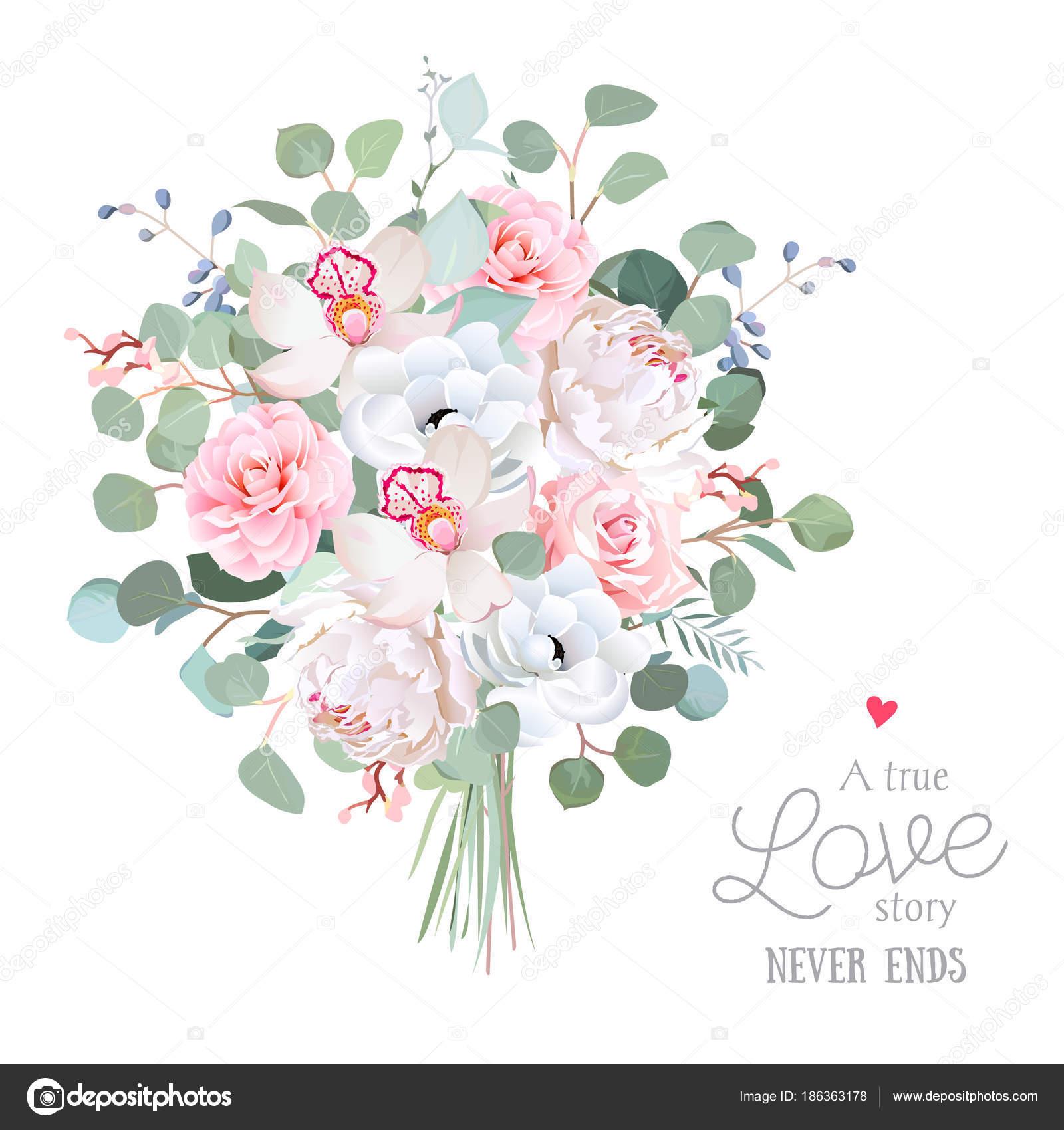 Bouquet de fleurs mariage style. Pivoine blanche, rose rose, orchidée,  anémone, camélia, eucalyptus dollar en argent. Illustration vectorielle  verdure pour