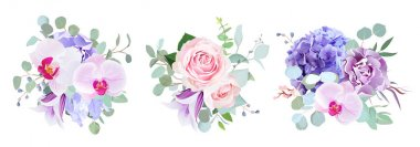 Purple and violet flowers vector design bouquets