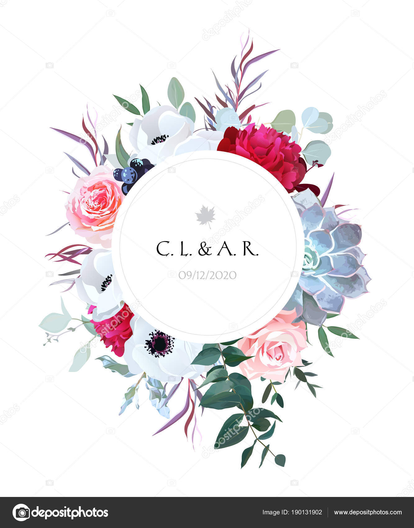 Elegant floral label frame arranged from leaves and flowers — Stock ...