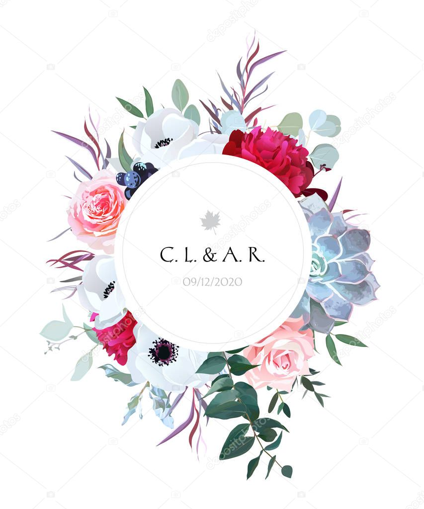 Elegant floral label frame arranged from leaves and flowers