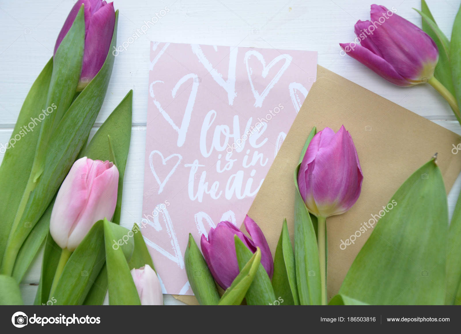 Spring Flowers Banner Bunch Of Pink And Violet Tulip Flowers On