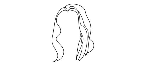 Önrajz egyszerű animáció egy folyamatos, egy vonalas rajz a női arcról. Szépség lány vagy nő portré. Rajz kézzel, fekete vonalak egy fehér háttér.