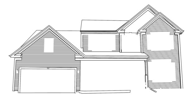 Self drawing simple animation of single continuous one line drawing house shape architecture, building. Drawing by hand, black lines on a white background.