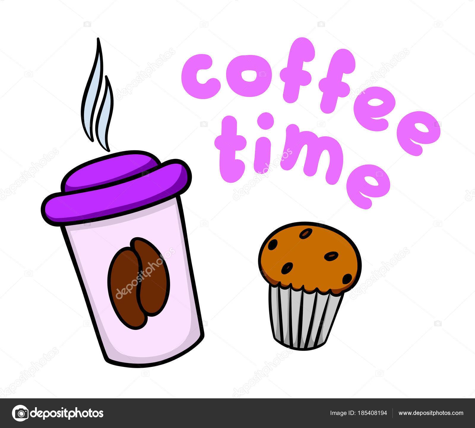 Kaffeepause Abbildung Tasse Kaffee Und Kuchen Auf Weissem