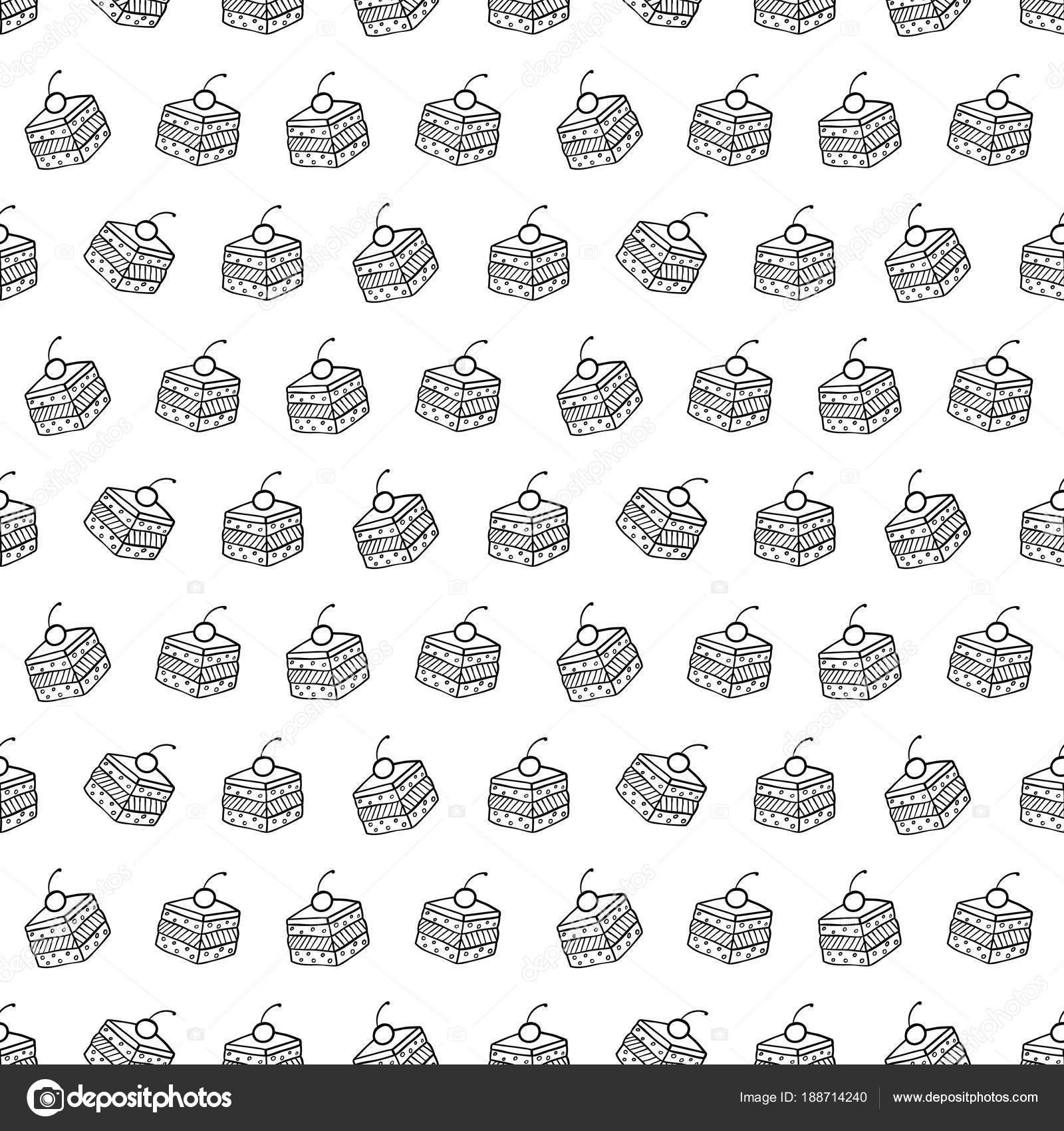Dibujos animados lindos pasteles sobre fondo blanco. Simple de ...