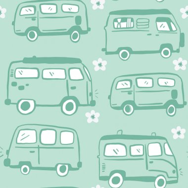 Blue Seamless Hand Drawn 70s Hippie Van Pattern. Bus and flower repeat pattern. White Background.