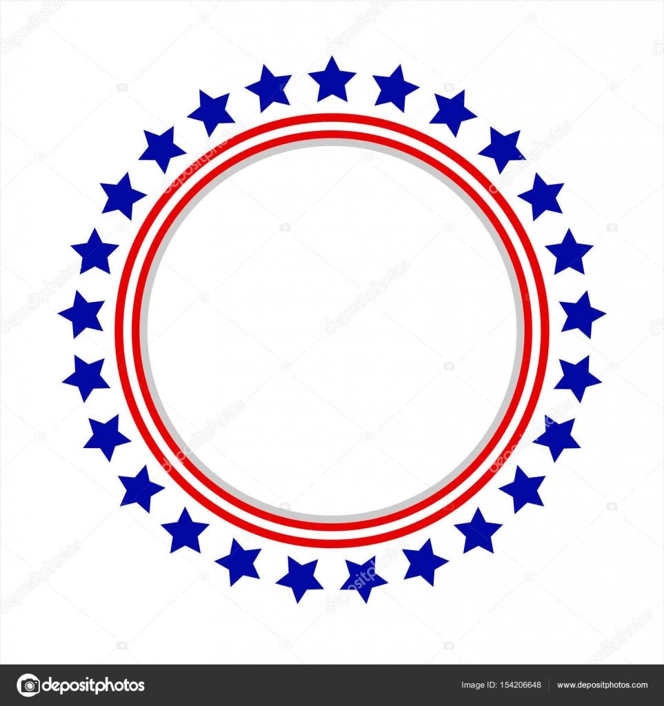 Amerikanische Flagge runden Rahmen stilisierte Logo, Symbol, emblem ...