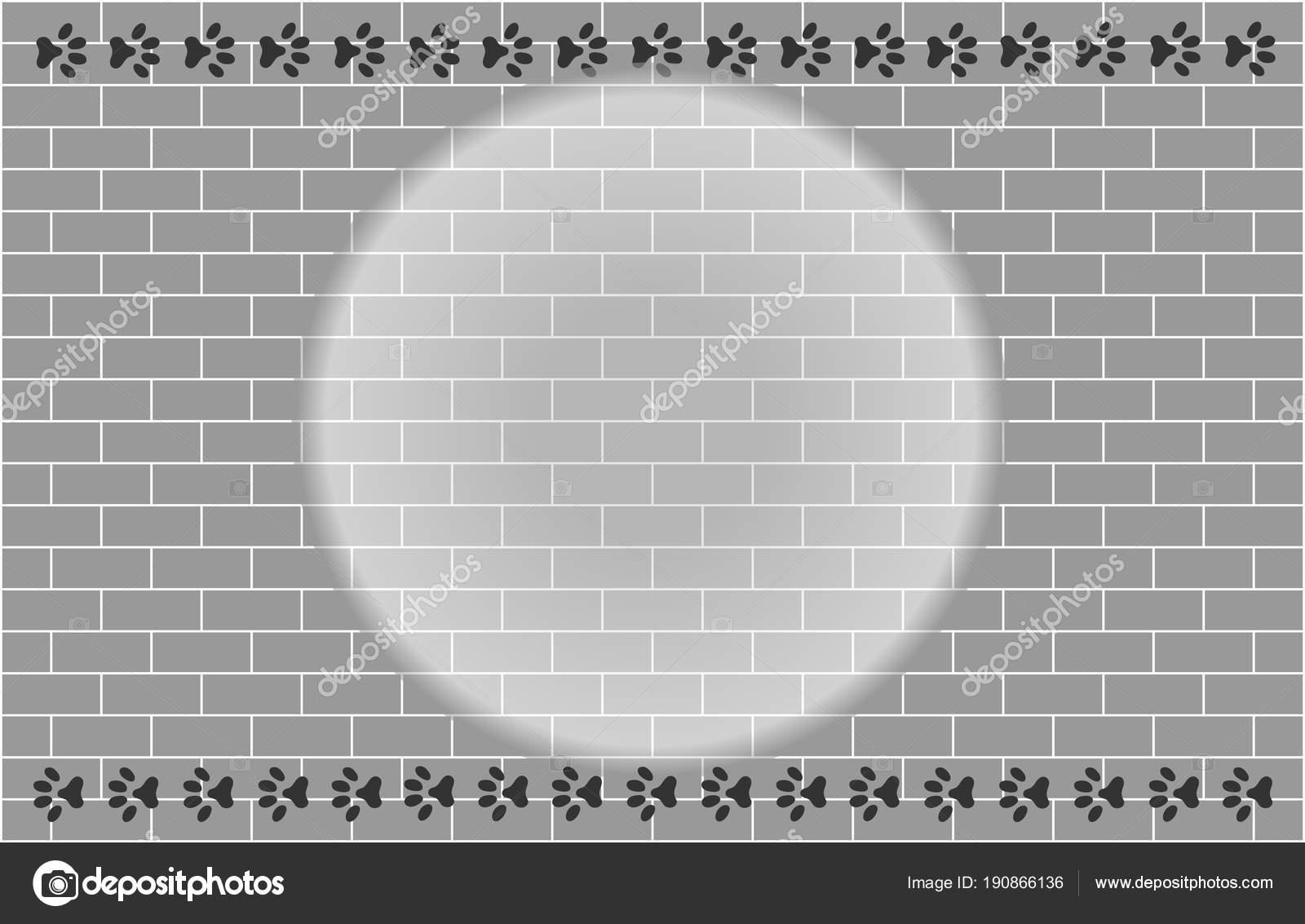 Ziegelwand mit Pfote druckt Rahmen für Ihr design — Stockvektor ...