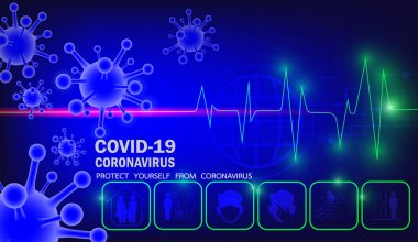 Coronavirus disease COVID-19, Protect yourself from coronavirus. That has 3d virus symbol  and pulse lines  on   blue background. And icons about prevention  coronavirus.