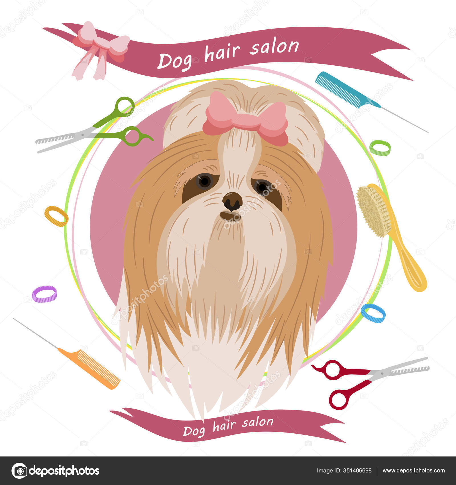Cute Dog Groomer Salon Pet Grooming Concept Vector Illustration Pet Stock Vector C Anikakarts 351406698