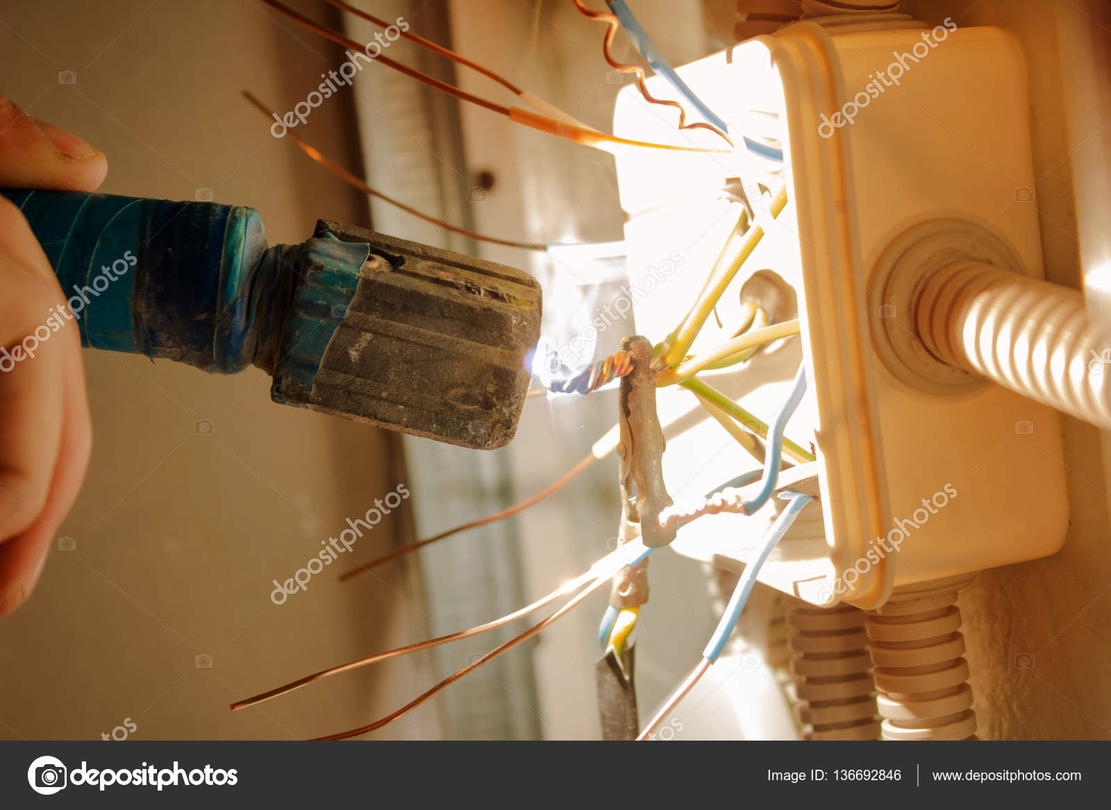 Soldering Electric Wires Junction Box — Stock Photo © vapm ... on