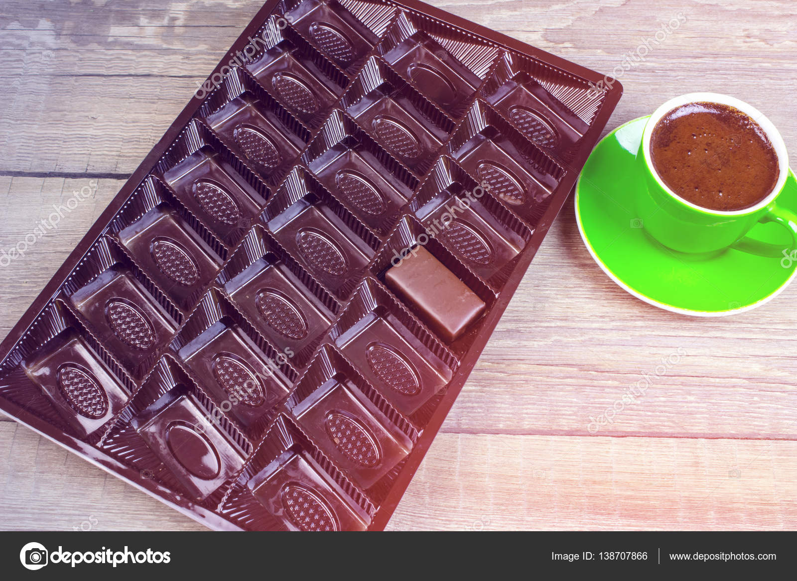 Box One Chocolate Candy Cup Coffee Wooden Table Stock Photo C Vapm 138707866