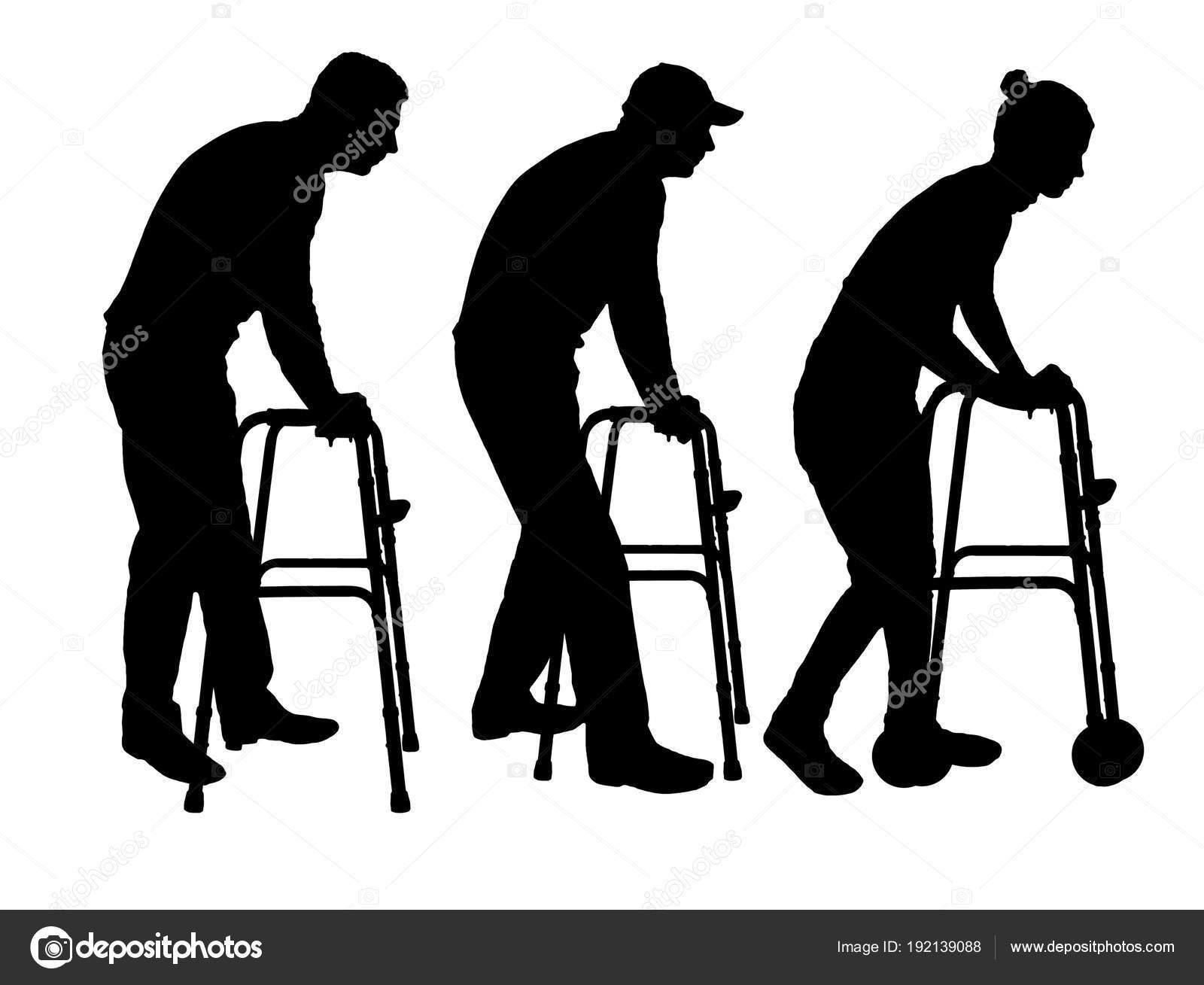 Vector Silueta De Un Hombre Discapacitado Y Una Mujer