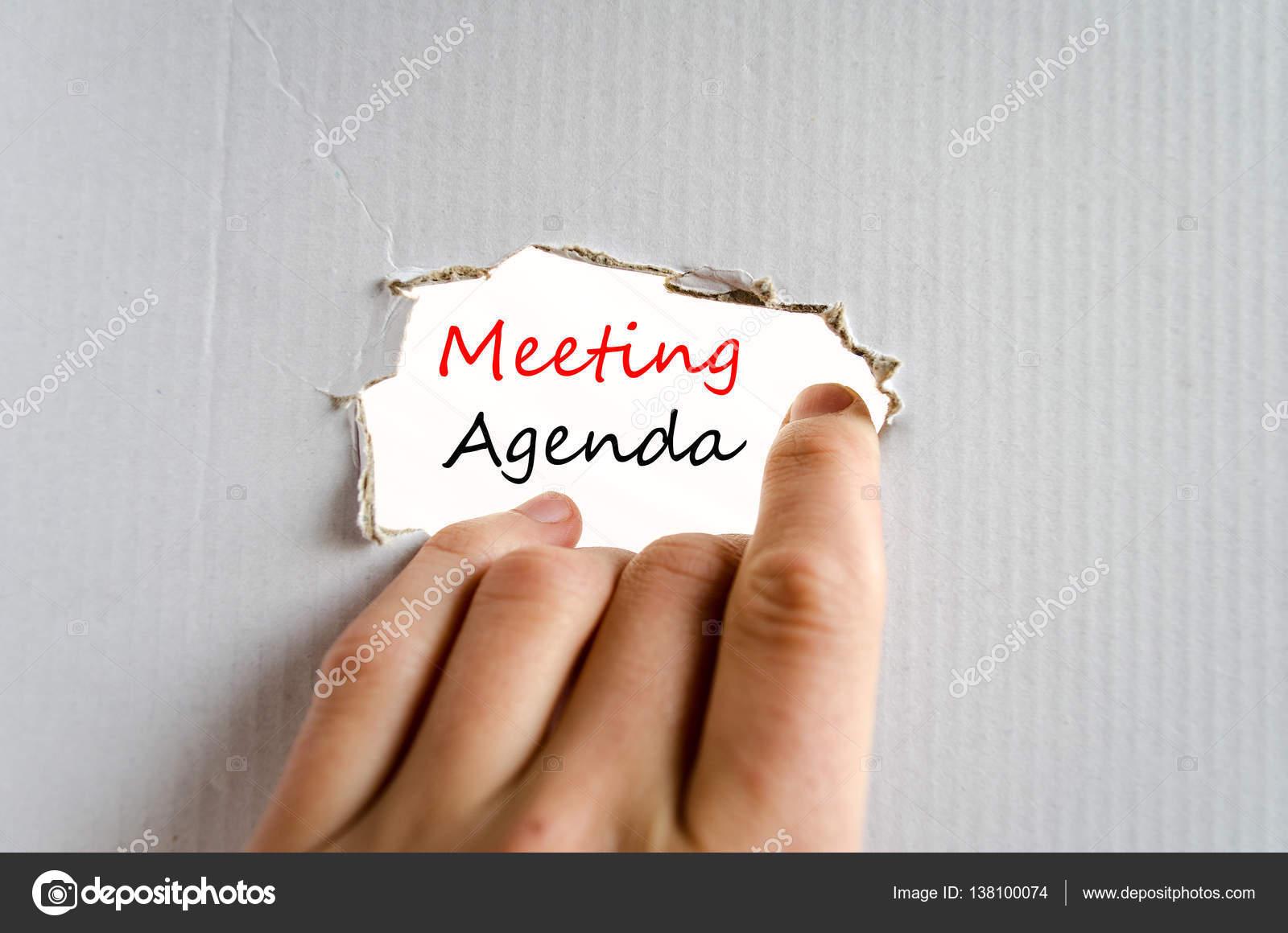 Concepto de texto de agenda de reunión — Foto de stock © Petenceto ...