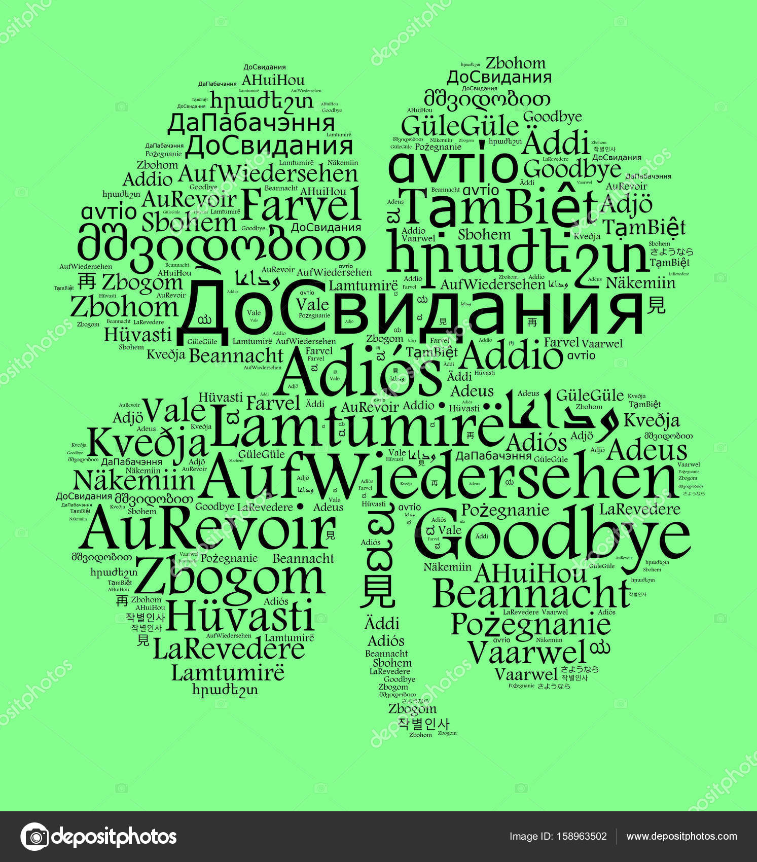 Tschüss Verschiedene Sprachen
