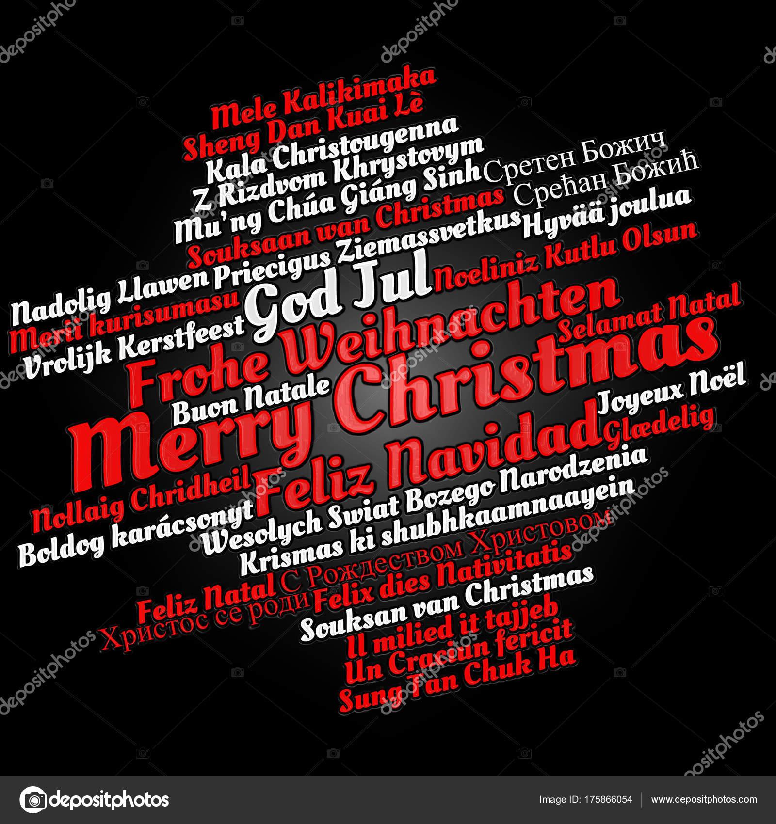 Frohe Weihnachten Auf Allen Sprachen.Frohe Weihnachten In Verschiedenen Sprachen Stockfoto Petenceto