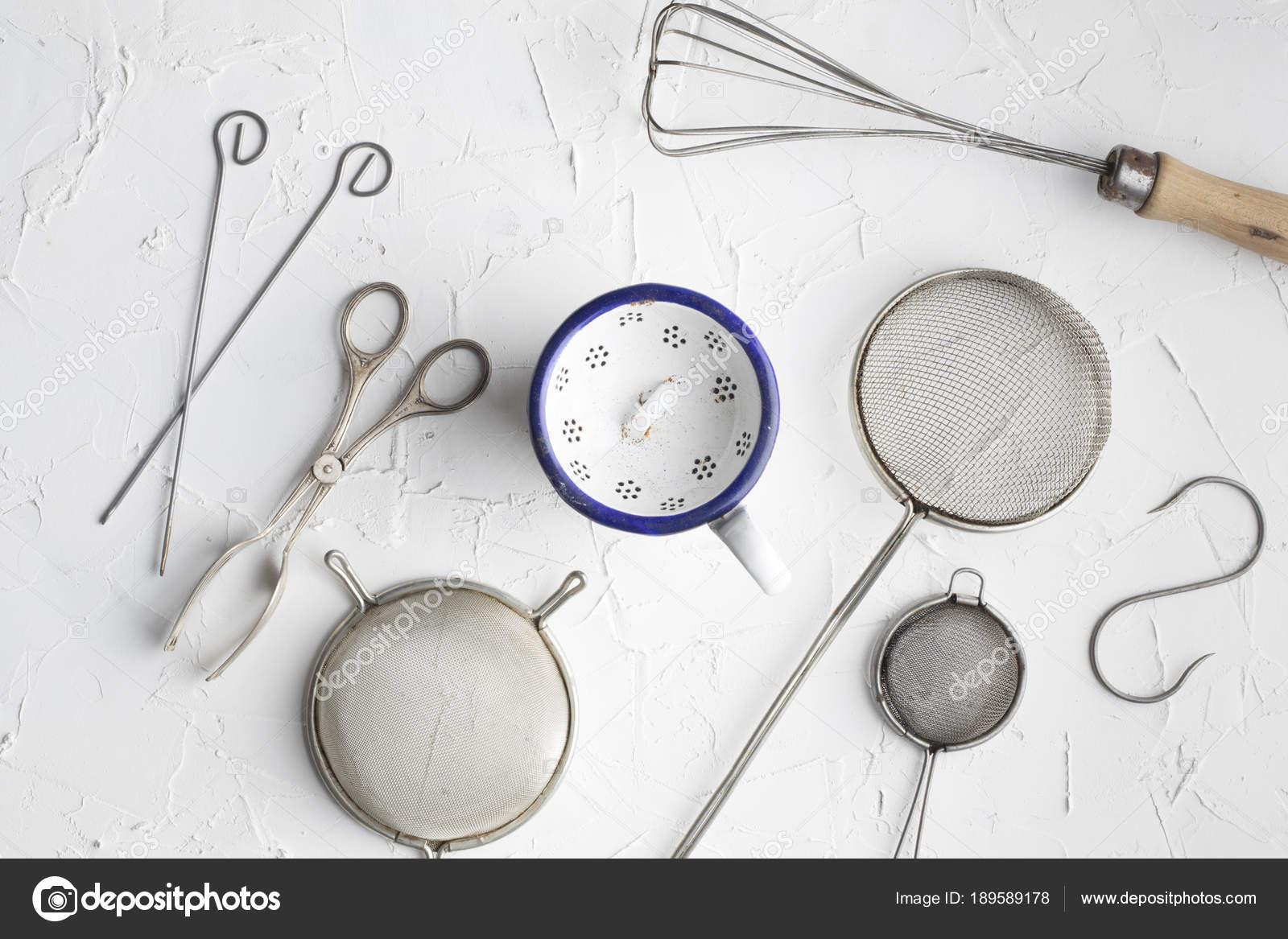 Vintage Kitchen Utensils Background Fork Kifes Spoons U2014 Stock Photo